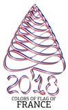 Fita na forma de uma árvore de Natal com as cores da bandeira de França Imagens de Stock Royalty Free