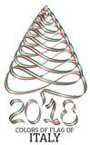 Fita na forma de uma árvore de Natal com as cores da bandeira de Itália Imagem de Stock