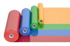 Fita plástica Rolls do polietileno do PVC da cor, rendição 3D ilustração royalty free
