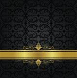 Fita preta sem emenda do papel de parede floral e do ouro Fotos de Stock Royalty Free