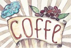 Fita retro com a inscrição do café e dos feijões de café ilustração do vetor