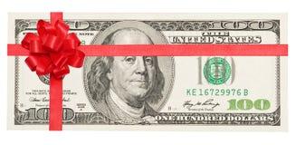 Fita vermelha amarrada dinheiro com curva fotografia de stock