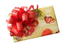 Fita vermelha caixa amarela amarrada Fotos de Stock Royalty Free