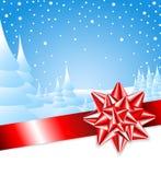 Fita vermelha com curva com paisagem do Natal ilustração royalty free