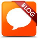 Fita vermelha do botão quadrado alaranjado do blogue (ícone da conversação) no milho ilustração royalty free