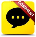 Fita vermelha do botão do quadrado do amarelo do comentário (ícone da conversação) em c ilustração stock