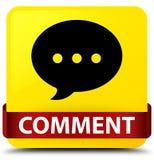 Fita vermelha do botão do quadrado do amarelo do comentário (ícone da conversação) em m ilustração do vetor