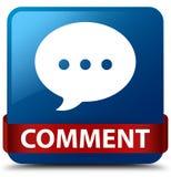 Fita vermelha do botão quadrado azul do comentário (ícone da conversação) em meados de ilustração do vetor