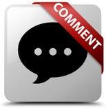 Fita vermelha do botão do quadrado branco do comentário (ícone da conversação) no co ilustração stock