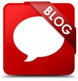 Fita vermelha do botão do quadrado vermelho do blogue (ícone da conversação) no canto ilustração do vetor