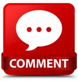 Fita vermelha do botão do quadrado vermelho do comentário (ícone da conversação) no midd ilustração do vetor