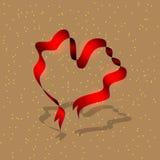 Fita vermelha na forma de um coração ilustração royalty free