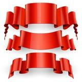 Fitas ajustadas Fita vermelha realística do papel lustroso Fotografia de Stock Royalty Free