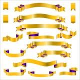 Fitas amarelas ajustadas com inclinação, ilustração do vetor Fotos de Stock