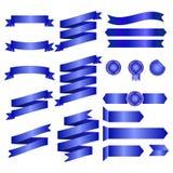 Fitas azuis isoladas na ilustração do fundo, do vetor do whte, no projeto gráfico útil para seu projeto ou nas bandeiras para seu Imagens de Stock