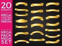 Fitas bonitas, etiquetas e projeto ajustado do vetor da coleção das curvas Foto de Stock Royalty Free