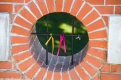 Fitas coloridas na cerca do ferro Imagens de Stock Royalty Free