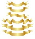 Fitas curvadas douradas ajustadas Imagens de Stock
