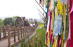 Fitas da ponte da liberdade em Coreia do Sul fotografia de stock royalty free