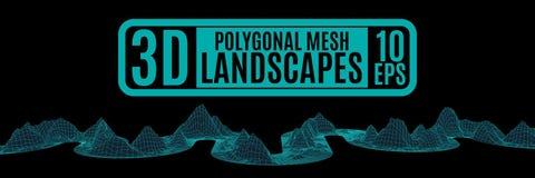 Fitas de néon que contorcem-se de dor montanhas poligonais Imagens de Stock Royalty Free