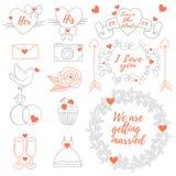 Fitas dos ícones da etiqueta da bandeira dos casamentos ajustadas Fotos de Stock Royalty Free