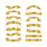 Fitas douradas isoladas na ilustração branca do fundo, do vetor, no projeto gráfico útil para seu projeto ou nas bandeiras para s Fotografia de Stock