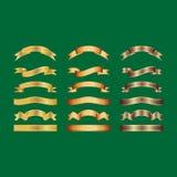 Fitas douradas na ilustração branca do fundo, do vetor, no projeto gráfico útil para seu projeto ou nas bandeiras para seu texto Fotos de Stock