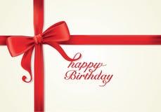 Fitas e cartão vermelhos, curvas, ano novo, aniversário Fotos de Stock Royalty Free