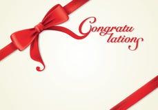Fitas e cartão vermelhos, curvas, felicitações Fotos de Stock