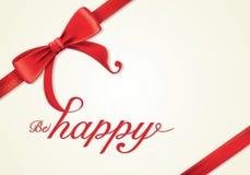 Fitas e cartão vermelhos, curvas, felizes Fotos de Stock Royalty Free