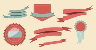 Fitas e ilustração retros ajustadas do vetor da etiqueta Fotografia de Stock Royalty Free