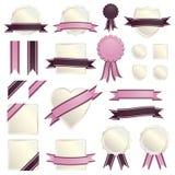 Fitas e selos cor-de-rosa ilustração do vetor