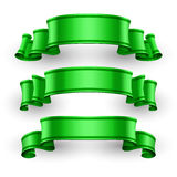 Fitas lustrosas verdes do vetor ajustadas Foto de Stock Royalty Free