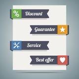 Fitas no papel ou na bandeira com disconto do slogan, garantia, serviço Imagens de Stock