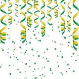 Fitas serpentinas, isoladas no fundo Confetes das flâmulas Ilustração do vetor da decoração verde Decoração clara de queda Imagens de Stock