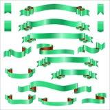 Fitas verdes ajustadas com inclinação, ilustração do vetor Imagens de Stock