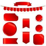 Fitas vermelhas ajustadas isoladas no fundo branco ilustração do vetor