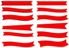 12 fitas vermelhas da bandeira Foto de Stock