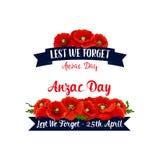 Fitas vermelhas do vetor da papoila de Anzac Day Lest We Forget Fotografia de Stock Royalty Free