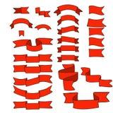 Fitas vermelhas, grupo grande de elemento tirado mão do projeto, bandeira, seta, bandeira, etiqueta no branco Fotografia de Stock Royalty Free