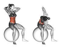 Fitball öva Ryggrads- elasticitet kvinnlig royaltyfri illustrationer