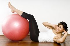 Fitball Crunch Stock Photos