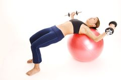 Fitball Dumbbell Flyes Stock Photo