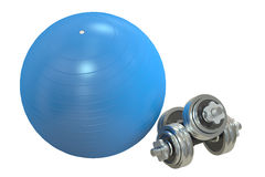Fitball and dumbbells, 3D rendering Royalty Free Stock Photo
