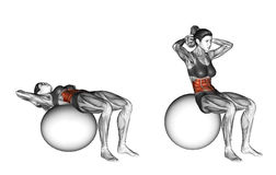 Fitball exercising. Ball Crunch. Female. Ball Crunch. Exercising for Fitness. Target muscles are marked in red. Initial and final steps Stock Photos
