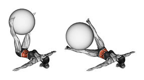 Fitball exercising. Pendulum legs with fitball. Female vector illustration