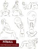 Fitball per le donne incinte Immagini Stock