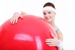 Fitball rojo grande Foto de archivo