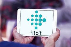 Fitbit company logo. Logo of Fitbit company on samsung tablet. Fitbit is an American company known for its products of the same name, which are activity trackers Stock Photos
