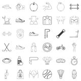 Fitbody icons set, outline style. Fitbody icons set. Outline style of 36 fitbody vector icons for web isolated on white background Royalty Free Stock Photos